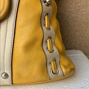 b. makowsky Bags - B makowsky yellow white large leather hobo handbag